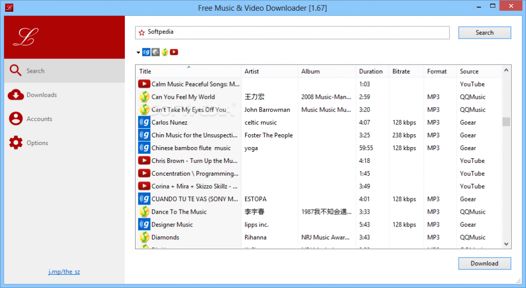Free music and video downloader